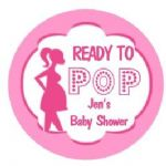 Personalised Ready to Pop Pink Baby Shower Party Stickers